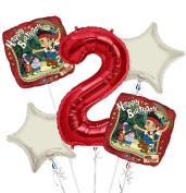 jake and the Neverland Pirates Balloon Bouquet 2nd Birthday 5 pcs - Party Supplies