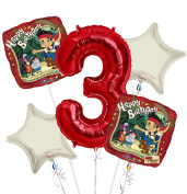 jake and the Neverland Pirates Balloon Bouquet 3rd Birthday 5 pcs - Party Supplies
