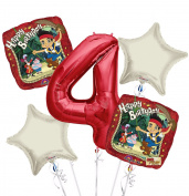 jake and the Neverland Pirates Balloon Bouquet 4th Birthday 5 pcs - Party Supplies