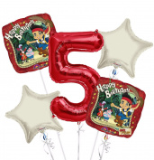 jake and the Neverland Pirates Balloon Bouquet 5th Birthday 5 pcs - Party Supplies