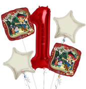 jake and the Neverland Pirates Balloon Bouquet 1st Birthday 5 pcs - Party Supplies