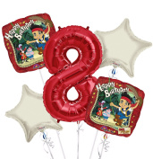 jake and the Neverland Pirates Balloon Bouquet 8th Birthday 5 pcs - Party Supplies