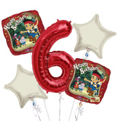 jake and the Neverland Pirates Balloon Bouquet 6th Birthday 5 pcs - Party Supplies