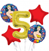 Wonder Women Balloon Bouquet 5th Birthday 5 pcs - Party Supplies