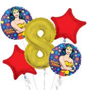 Wonder Women Balloon Bouquet 8th Birthday 5 pcs - Party Supplies