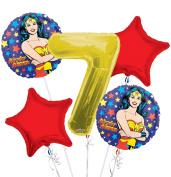 Wonder Women Balloon Bouquet 7th Birthday 5 pcs - Party Supplies