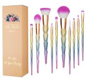 TheFellie Unicorn Makeup Brushes, Professional Cosmetics Rainbow Blush Powder Foundation Colourful Makeup Brush Set 10 PCS