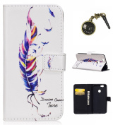 For Huawei Leather Case in Book Style With Stand Function Card Slots for Huawei Nova Nova Case + Dust Plug
