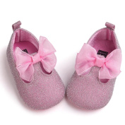First Walking Shoes Baby Girls, Londony❤ღ♕New Born Baby Girls Bowknot Decoration Anti-slip Sole Baby Shoes (12