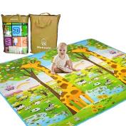 Baby Care Play Mat Child Activity Foam Floor Gym Crawl - Non Toxic , Non Slip & Reversible Waterproof 200cm x 180cm
