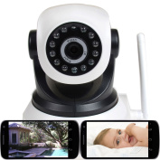 VideoSecu Wireless IP Baby Monitor Video Audio Day Night Vision Security Camera with Pan Tilt Wi-Fi for iPhone, iPad, Android Phone or PC Remote View IPP105W 1U2