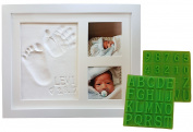 Personalised Baby Handprint & Footprint Keepsake Photo Frame Kit - Premium Non-Toxic Clay, Stencil Kit, Wall/Table Wood Picture Frame. For Registry, Baby Shower, New Mom, Holiday & Birthday Gifts!
