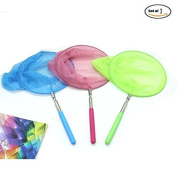 Set Of 3 Telescopic Butterfly Net Catching Bugs Insect Extendable 90cm Inch for Kids,Pink & Blue & Green