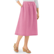 Collections EtcWomen's Chambray A-Line Skirt with Elastic Waist, X-Large, Machine Washable
