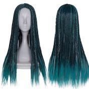 Netgo Kids Children Teal Mixed Black Cosplay Wigs Halloween Costume Braids Wigs 60cm