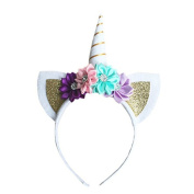 FULLIN Hair Hoop Unicorn Headband Hair Hoop Kids Cat Ears Flower Headband Halloween Cosplay Costume Makeup Birthday Party Headdress