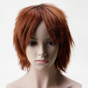 Short Anime Cosplay Synthetic Full Wig with Bangs 20 Styles Layered Fluffy Hair Oblique Fringe Full Head Unisex for Man and Women Girls Lady Natural Black to Light Auburn