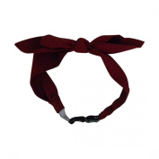 Burgundy Textured Bow Junior Girls' Headwrap