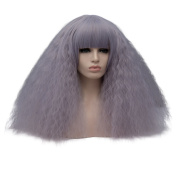 Amback Mid Length Fluffy Bob Wig Kinky Curly Wigs for Women Costume Cosplay Wig
