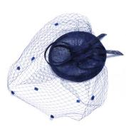 Navy blue Women's Dot Veil Hair Clip Wedding Cocktail Party Veil Fascinator