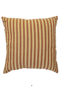 Wine Red Stripes on Beige 46cm Square Decorative Accent Pillow Cushion with Fill