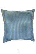 Blue & Cyan & Grey Stripes 46cm Square Decorative Accent Pillow Cushion with Fill