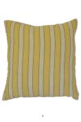 Lemon Yellow Stripe Off-White 46cm Square Decorative Accent Pillow Cushion with Fill