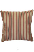 Red Blue Stripes on Beige 46cm Square Decorative Accent Pillow Cushion with Fill
