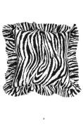 Black & White Satin Zebra 50cm Square Decorative Accent Pillow Cushion with Fill