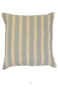 Wide Blue Stripe Off-White 46cm Square Decorative Accent Pillow Cushion with Fill