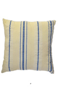 Blue Stripes on Beige 46cm Square Decorative Accent Pillow Cushion with Fill