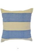 Beige & Denim Blue Stripes 46cm Square Decorative Accent Pillow Cushion with Fill