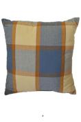 Large Blue Beige Plaid 46cm Square Decorative Accent Pillow Cushion with Fill