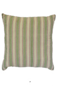 Green & Thin Red Striped 46cm Square Decorative Accent Pillow Cushion with Fill