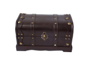 30cm Wood Decorative Chest with Brass Accents By Trademark Innovations
