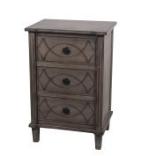 Privilege Wood Accent Tables 28412 Privilege 28412 3 Drawer Accent Stand - Stone Wash 17.75 X 70cm X 35cm Grey