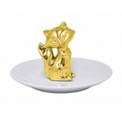 Benzara Ceramic Fox Figurine with Plate-Gold Accents