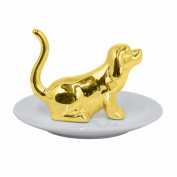 Benzara Ceramic Dog Figurine with Plate-Gold Accents