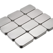 Shappy 12 Pack Basic Necessities Tins Silver Rectangular Empty Tins Storage Box Containers Mini Portable Box Small Storage Kit for DIY Use, Home Organiser, 3.7 x 6.1cm x 2cm