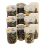 12 Plastic Containers with Rounded Screw-Top Lids - Crafting Beading Sewing Jewellery Organisers