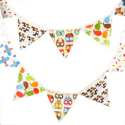 Da.Wa Pennant Cartoon prints Cotten Cloth Banner Pennant Party Rainbow String Curtain Banner Flags for Decorations, Birthdays, Event Supplies, Festivals