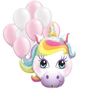 100cm Unicorn Balloons Party Decoration Bundle by Fiesta Tribe with 28cm Pearl Pink and White Latex Balloons