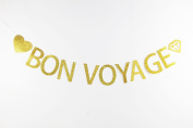 LOVELY BITON™ Gold Bon Voyage Letters Banner Decoration Kit Themed Party Banner for Birthday Wedding Showers Photo Props Window Decor