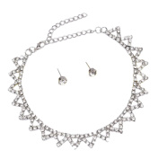 Cdet Women Necklace Earrings Sparkling Diamond Pendant Necklace Girl Chain Necklace Jewellery Set Love Gift Silver