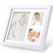 Baby Handprint And Footprint Kit, Migimi Baby Prints Photo Frame with Non Toxic and Safe Clay, Perfect Keepsake and Baby Shower Gift