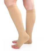 Runee High Quality 15-20 mmHg Medical Open Toe Compression Sock Knee High Hosiery Stocking For Swelling, Varicose Vein, Edoema, Spider Vein