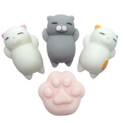 4PCS Kawaii Squishy Toys Cute Cats And Paw, Mini Animal Seals Healing Toys Squishy Stress Reliever Toy for Kids Adults