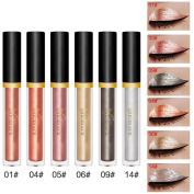 vmree 6 Pcs Metallic Smoky Eyeshadow Waterproof Glitter Liquid Eyeliner Set