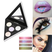 Triangle 4 colour Iridescent Metallic Glow Powder Highlighter Alchemist Holographic Palette