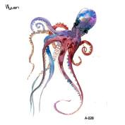WYUEN 5 Sheets Octopus Fake Tattoo Waterproof Temporary Tattoo Sticker For Women Men Body Art 9.8X6cm FA-028